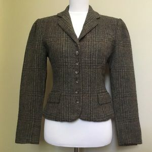 VINTAGE 80s RALPH LAUREN crop wool tweed blazer XS